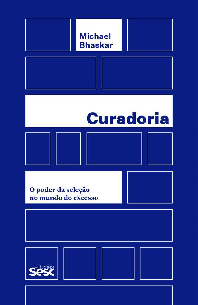 Capa do livro Curadoria, composta por uma grade de retângulos brancos sobre um fundo azul