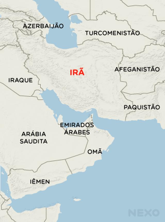 Mapa mostra a localização do Irã