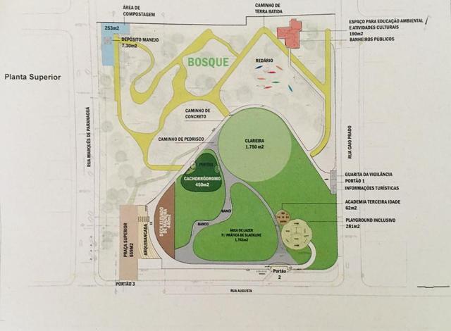 Planta superior do projeto do Parque Augusta