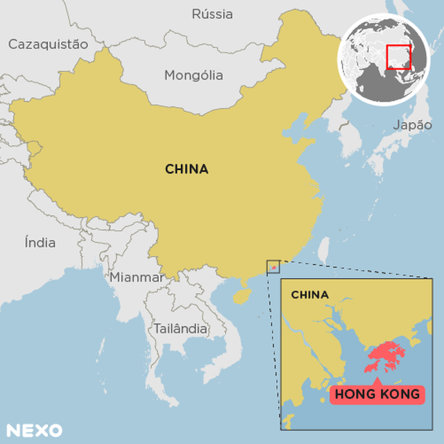Mapa mostra a localização de Hong Kong e da China