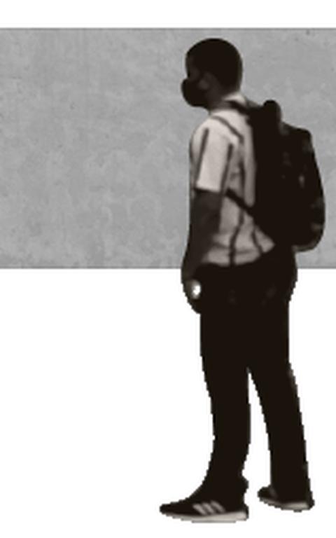 Ilustração de homem negro de mochila em frente a um retângulo cinza