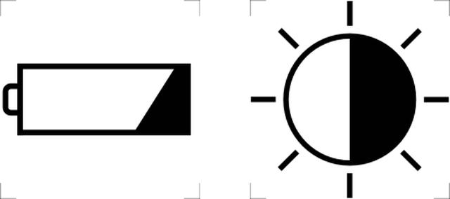 Símbolos gráficos padrões de bateria e brilho-contraste