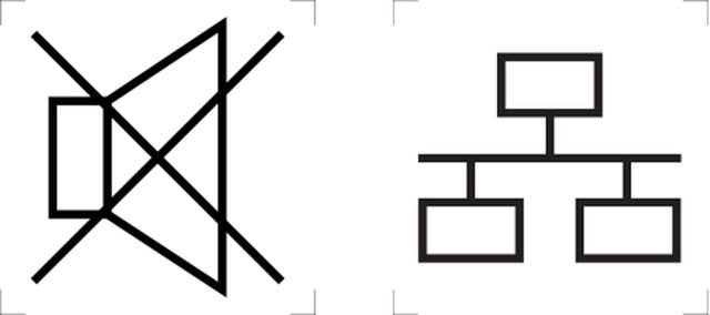 Símbolos gráficos de som mudo e rede de computadores