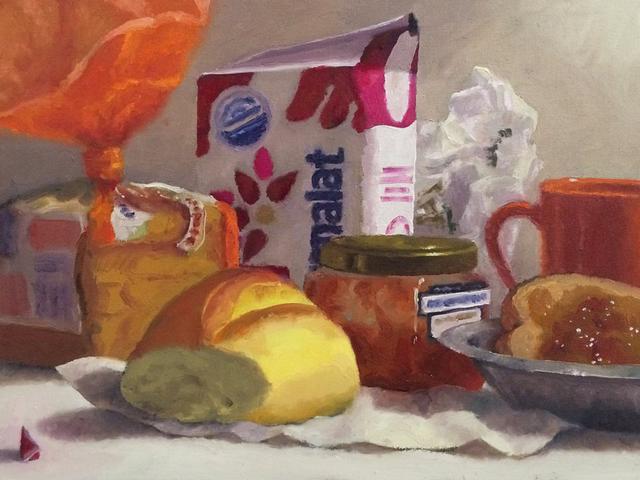 """Pão na mesa"" Óleo sobre tela 40x30 cm"