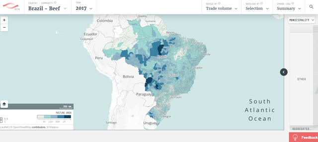 Mapa do Brasil indicando os locais em que a carne é produzida