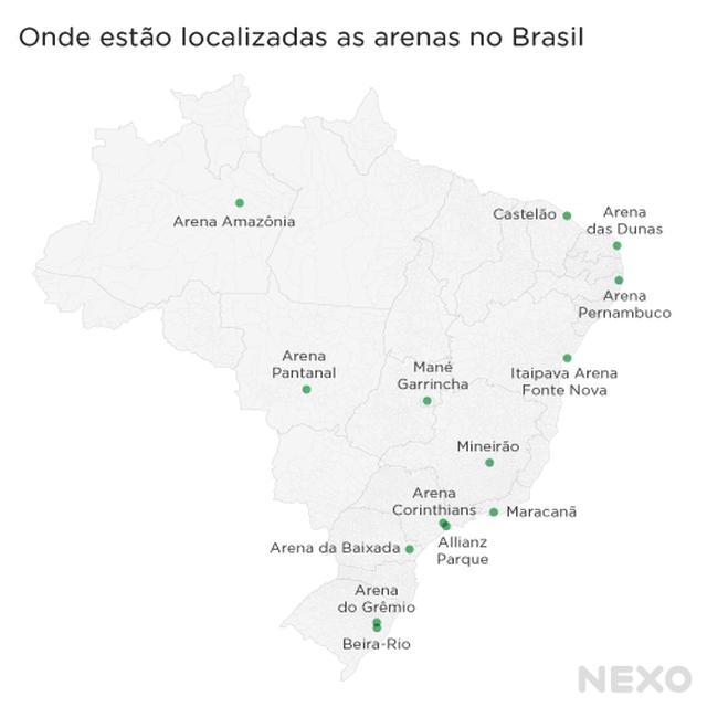 Onde estão as arenas no Brasil. Mapa indicando a localização das 14 arenas