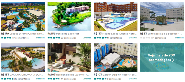 Imóveis de Caldas Novas, em Goiás, anunciados no Airbnb