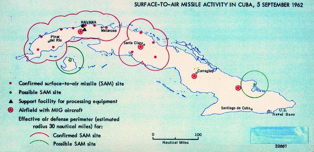 Mapa de Cuba durante a Crise dos Mísseis, em 1962