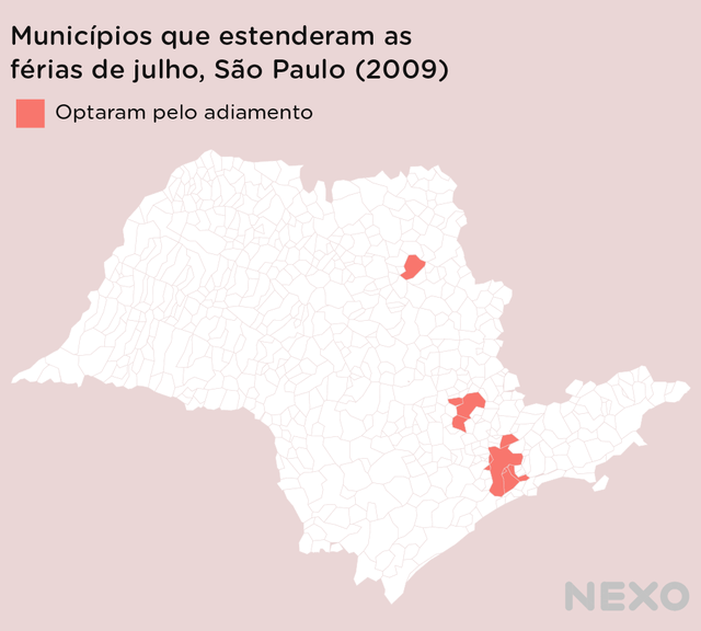 Mapa do estado de São Paulo destaca os municípios que estenderam as férias de julho em 2009