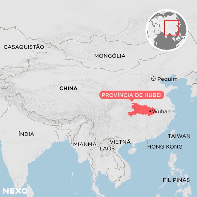 Mapa mostra localização de Wuhan