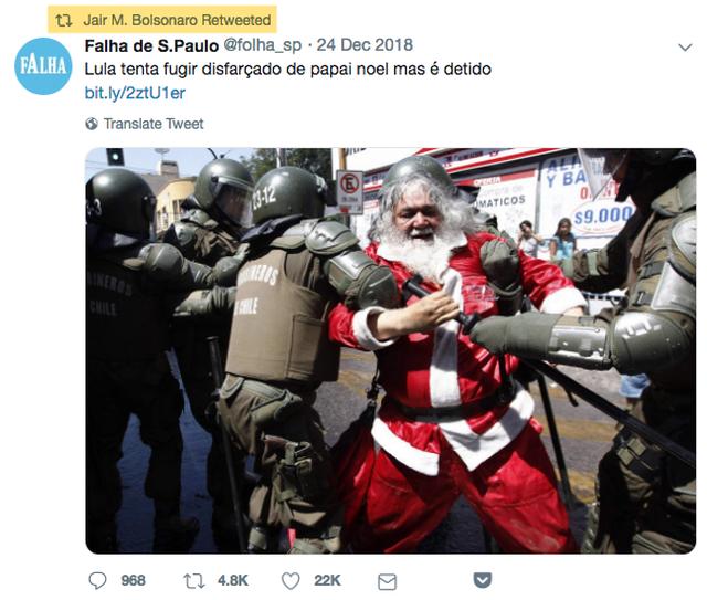 Reprodução de postagem de Jair Bolsonaro