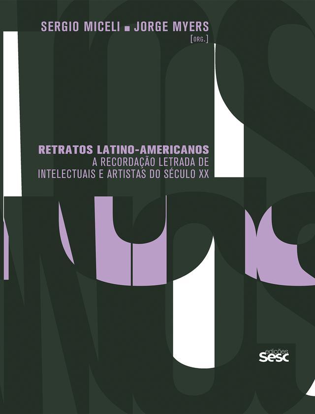 Capa do livro Retratos latino-americanos, com um fundo feito de grandes letras sobrepostas