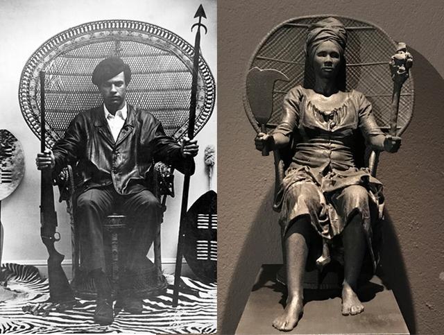 Foto do líder dos Panteras Negras, Huey P. Newton; e estátua de Mary Thomas