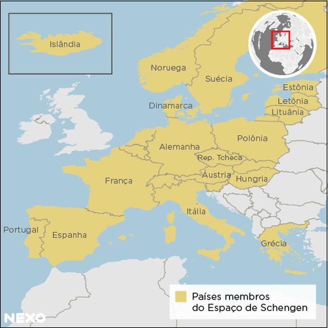 mapa dos países-membros do Espaço Schengen