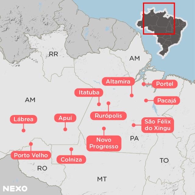 Mapa da Amazônia Legal, com 11 municípios em destaque: Apuí (AM), Lábrea (AM), Colniza (MT), Altamira (PA), Itaituba (PA), Novo Progresso (PA), Pacajá (PA), Portel (PA), Rurópolis (PA), São Félix do Xingu (PA), Porto Velho (RO)