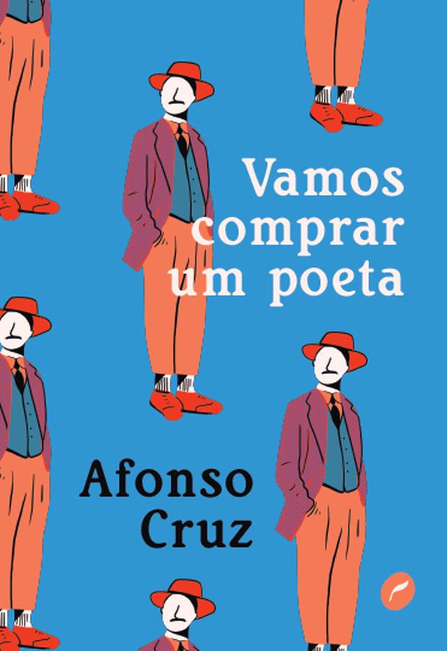 """Capa do livro """"Vamos comprar um poeta"""", com a ilustração de um homem de paletó e chapéu, que lembra o poeta Fernando Pessoa"""