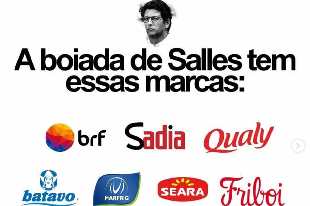 """Ao topo, cabeça de Salles com a frase """"a boiada de Salles tem essas marcas"""". Abaixo, as logos de empresas como BRF, Sadia, Qualy, Batavo, Marfrig, Seara e Friboi"""