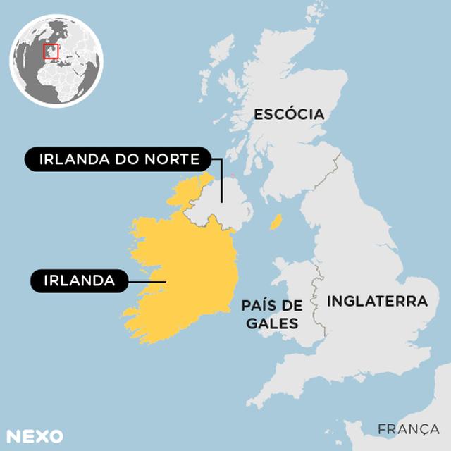 Mapa mostra a localização da Irlanda do Norte e da República da Irlanda em relação ao Reino Unido.