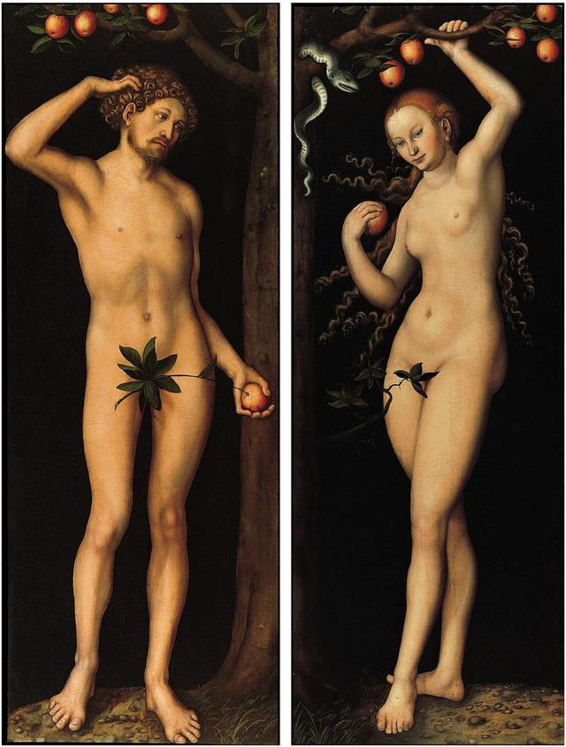 """Obras """"Adão"""" e """"Eva"""", de Lucas Cranach, o velho, datam do século 16"""
