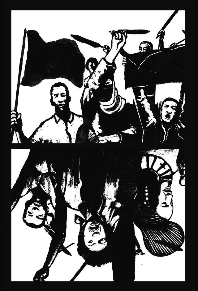 Desenho de pessoas negras protestando empunhando bandeiras e com o punho para o alto