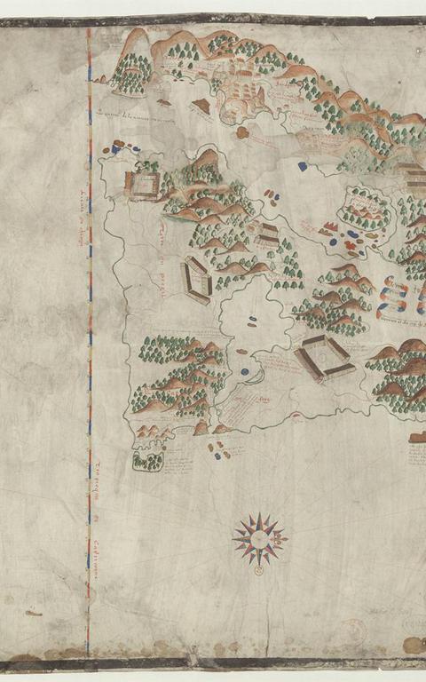 Mapa 'Le vrai pourttraict de Geneure et du Cap de Frie', de Jacques de Vau de Claye (1579)