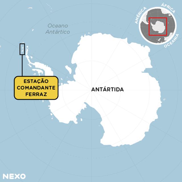 Mapa localiza a Antártida e o local da Estação Almirante Ferraz, que fica em uma ilha da região bem à esquerda, ao norte.