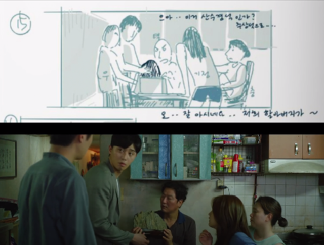 Imagem dividida horizontalmente. Na parte superior, um desenho. Na inferior, uma cena do filme 'Parasita' com pessoas reunidas em torno de uma mesa