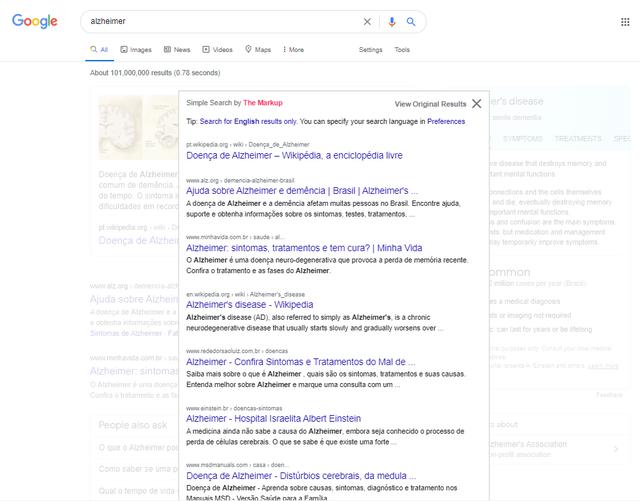 Sob página normal do Google, box com alguns resultados do termo 'Alzheimer'