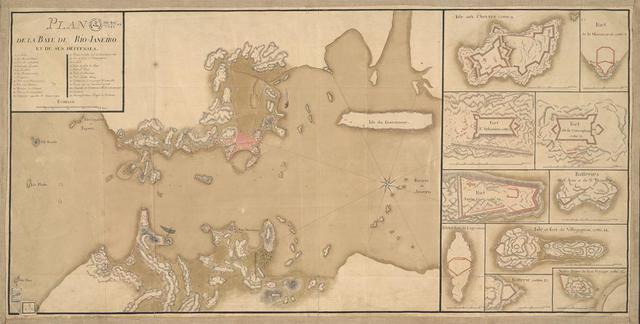 Mapa francês 'A baía do Rio de Janeiro e suas defesas', de 1760