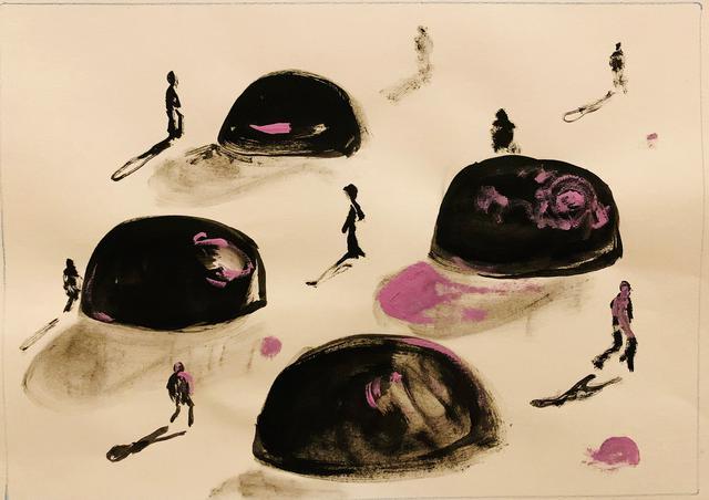 Figuras humanas e suas sombras distanciadas entre si, com formas grandes em volta que parecem pedras