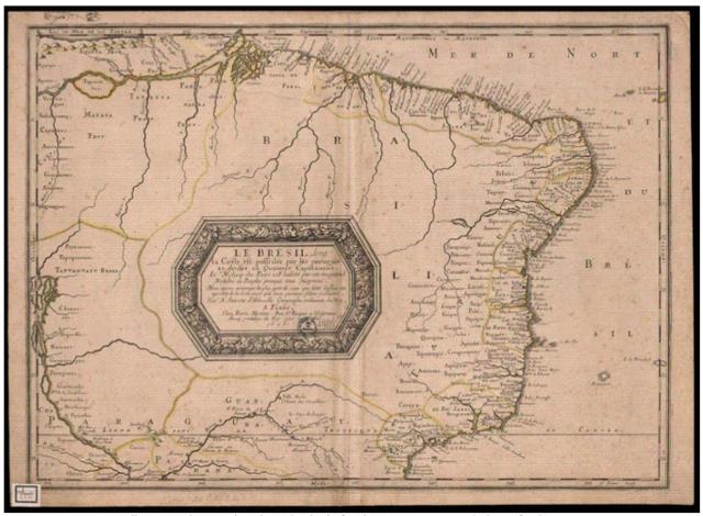 Mapa com a foz do Rio Amazonas