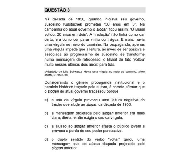 Artigo da colunista Lilia Schwarcz em questão de português da Unicamp 2018