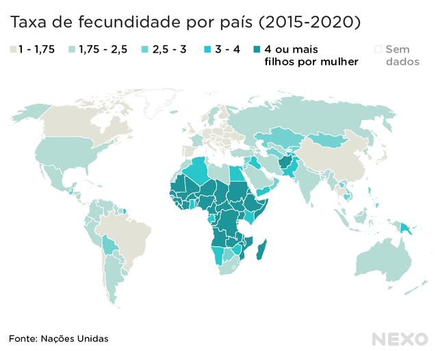Mapa-múndi mostra com diferentes cores as variações de taxa de fecundidade entre os países