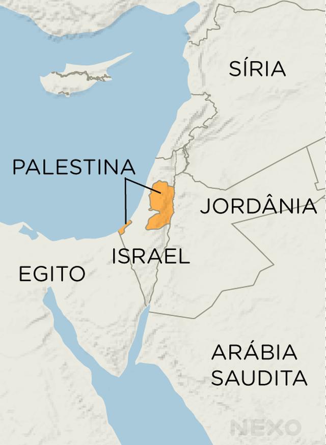 Mapa mostra a localização da Palestina