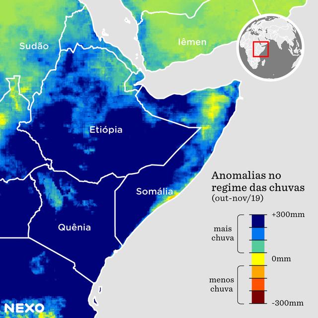 Mapa com foco nos países Etiópia, Somália e Quênia que mostram que eles tiveram mais de 300mm de chuva a mais do que a época normalmente recebe
