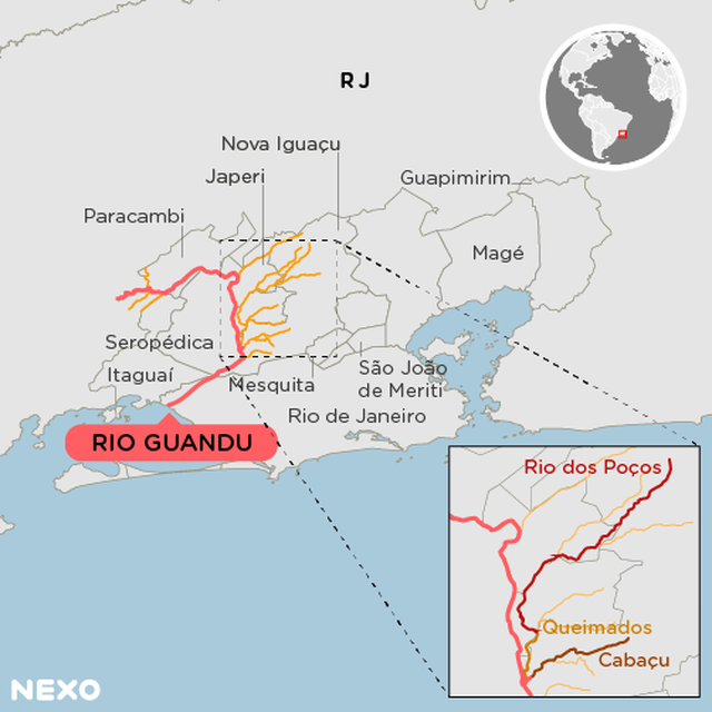 Mapa do rio Guandu e seus afluentes