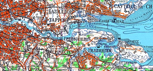 Detalhe de Londres e o rio Tâmisa em mapa soviético de 1986