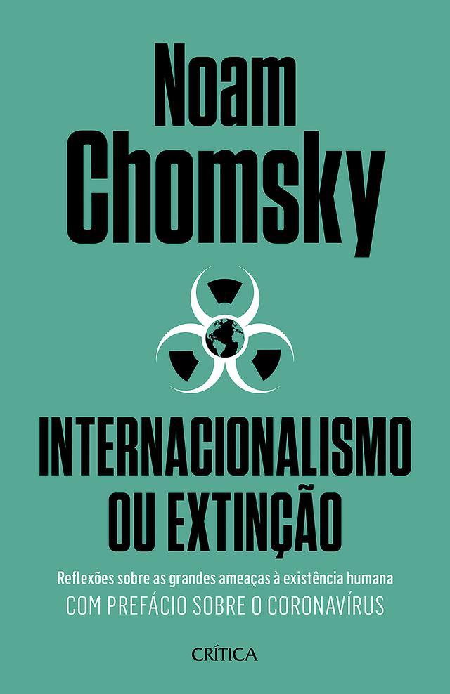 """Capa do livro """"Internacionalismo ou extinção"""", estampado com um símbolo de risco biológico"""