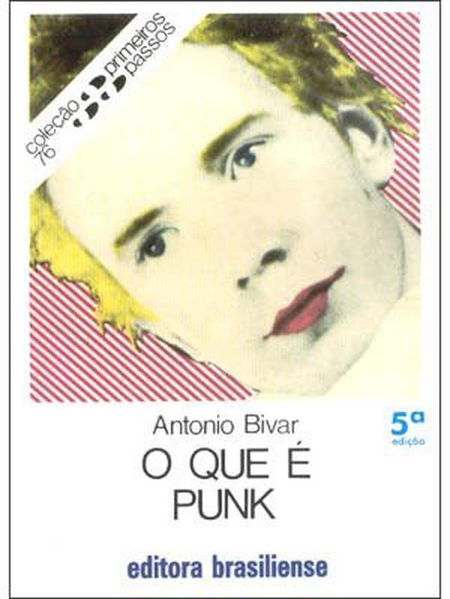Capa de 'O que é punk', de Antonio Bivar, com o rosto de um homem meio em pop art
