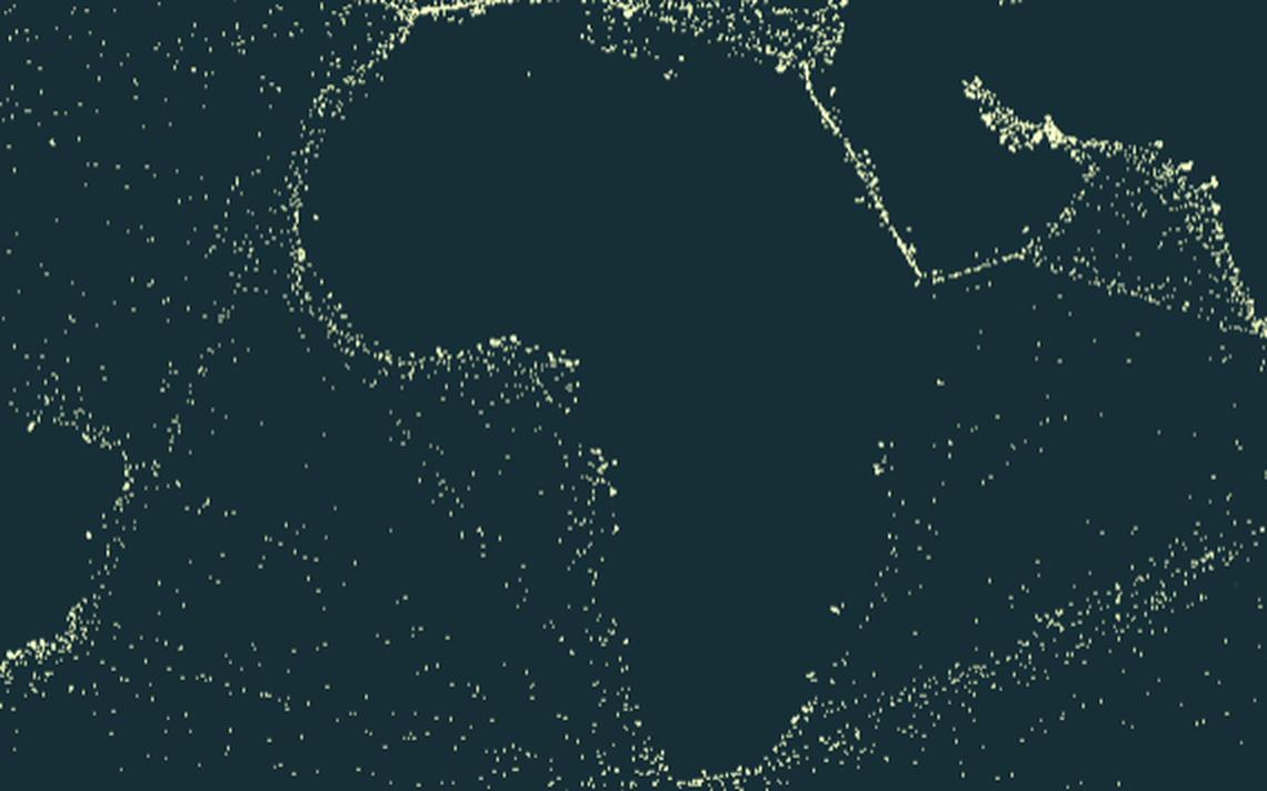 Pontos amarelos representando navios contornam os continentes populosos