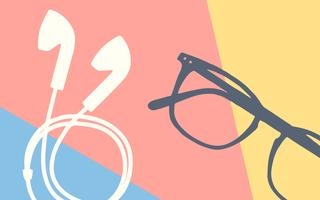 Ilustração com uma combinação de dois objetos (fones de ouvido e um óculos de leitura) sobre um fundo vermelho, amarelo e azul claros