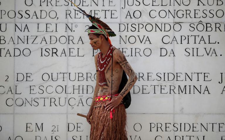 Índio pataxó durante protesto em Brasília, em 26 de março de 2019