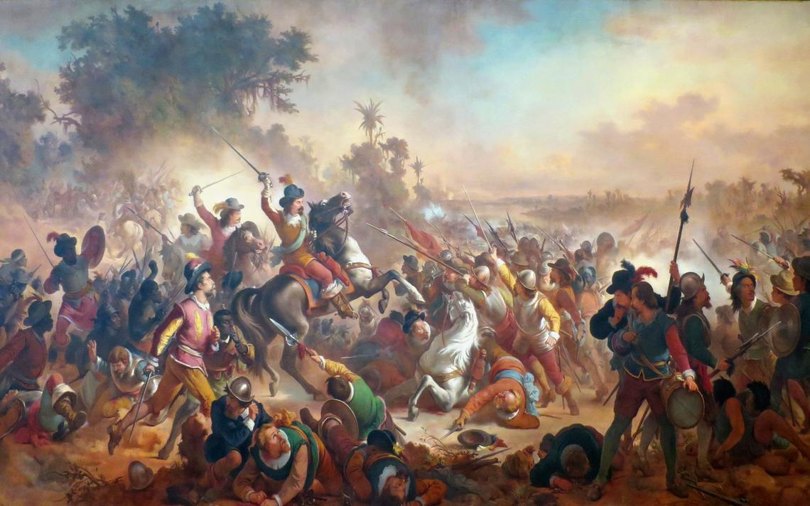 Quadro que representa uma batalha, com dezenas de pessoas armadas em um campo.