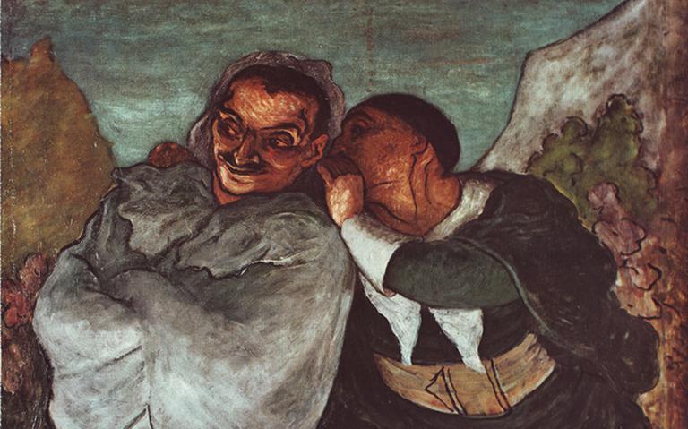 Pintura em que um homem cochicha no ouvido de outro, que tem os braços cruzados e possui um semblante malicioso.
