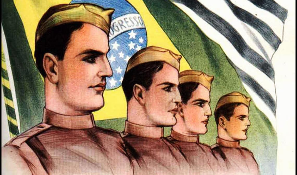 Desenho, quatro homens enfileirados, usam roupas militares. Atrás, bandeiras do Brasil e do estado de São Paulo