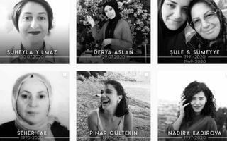 Montagem de retratos de mulheres em preto e branco, com nomes e datas de nascimento e morte embaixo