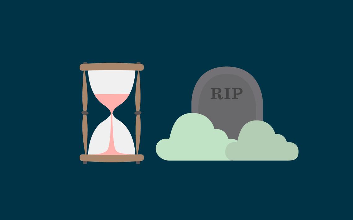 Ampulheta e lápide, interativo quando morre