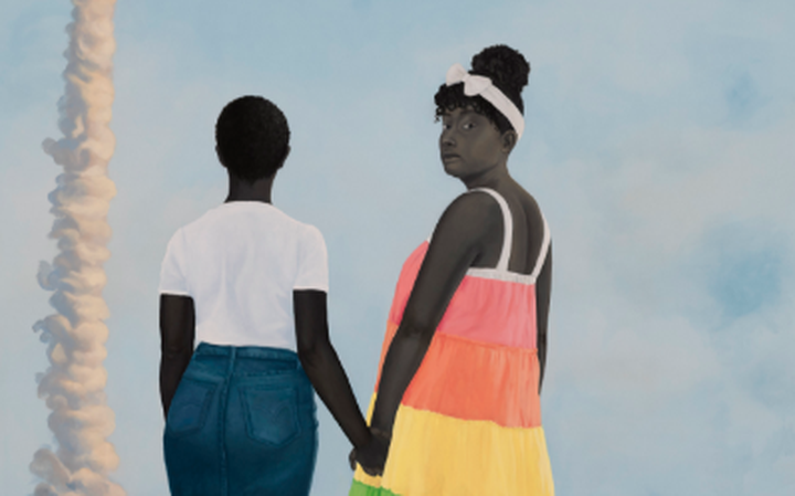 """Planes, rockets and the spaces in between"" (2018), de Amy Sherald"