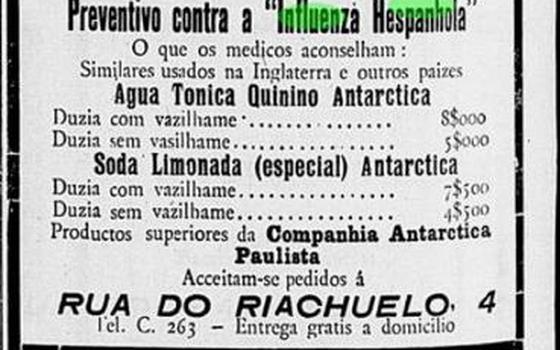 Anúncio publicado em jornal de 1918 indica água tônica com quinino como remédio preventivo para a gripe espanhola