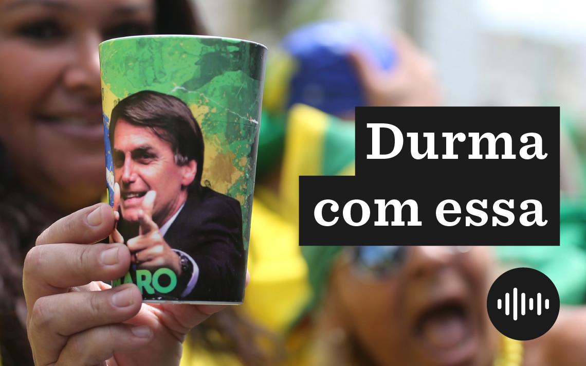 Apoiador de Jair Bolsonaro durante ato no Rio